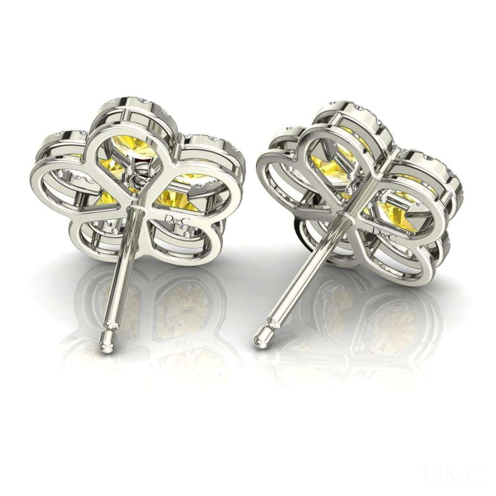 Boucles Doreilles Saphirs Jaunes Et Diamants Or Blanc Jeanne - Boucles-Doreilles-Diamants-Et-Saphirs-Jaunes-Or-Blanc-Jeanne Diamants Et