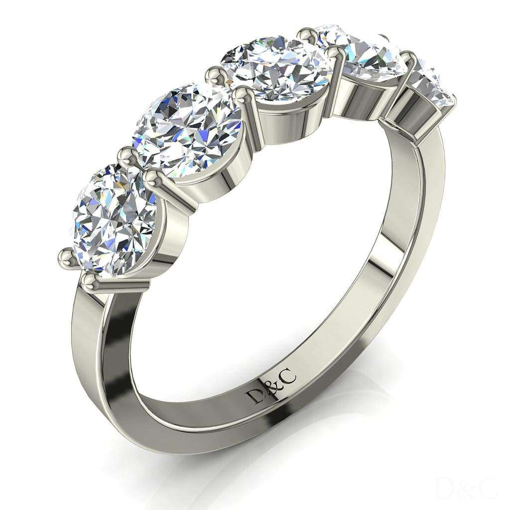 Demi-Alliance femme diamants ronds 5 diamants 1.10 carat or blanc Adia