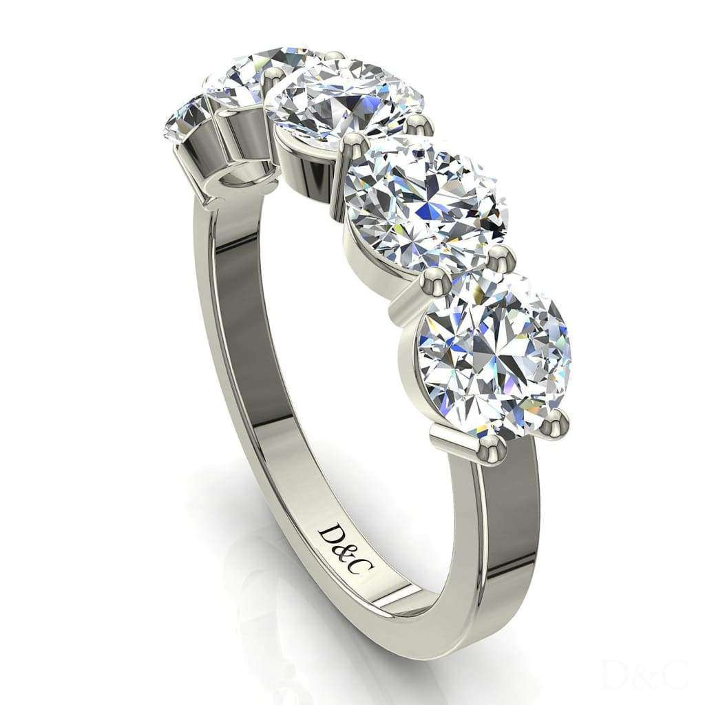 Demi Alliance Bague 5 Diamants Ronds 2 Carats Or Blanc 2 Griffes Adia -