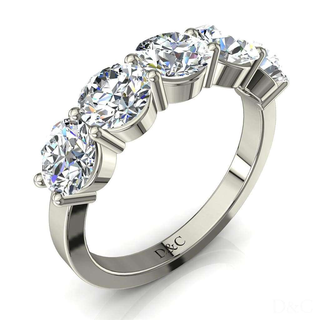 Demi Alliance Bague 5 Diamants Ronds 3 Carats Or Blanc 2 Griffes Adia -