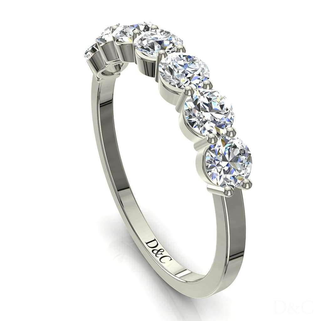 Bague Demi-Alliance diamants ronds 7 diamants 0.79 carat or blanc Adia