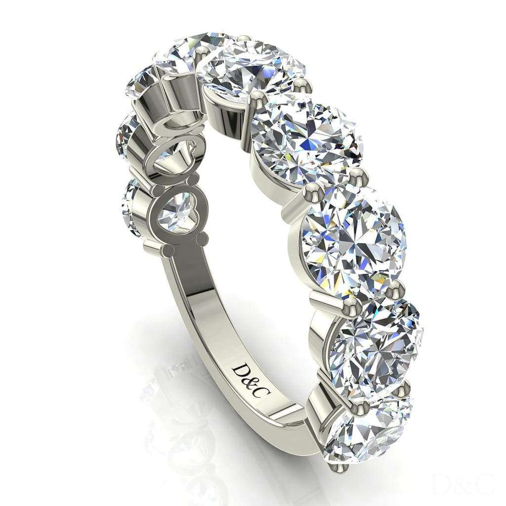 Alliance demi-tour diamants ronds 9 diamants 3 carats or blanc Adia