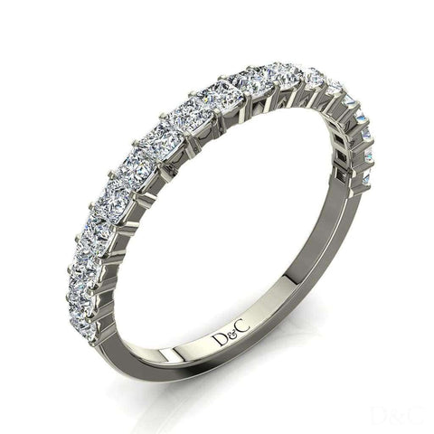 Bague Demi-Alliance diamants princesses 18 diamants 0.60 carat or blanc Caterina