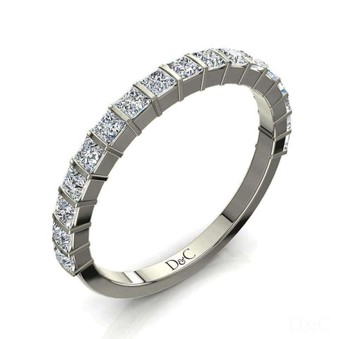 Demi-Alliance mariage femme diamants princesses 15 diamants 1 carat or blanc Ariane