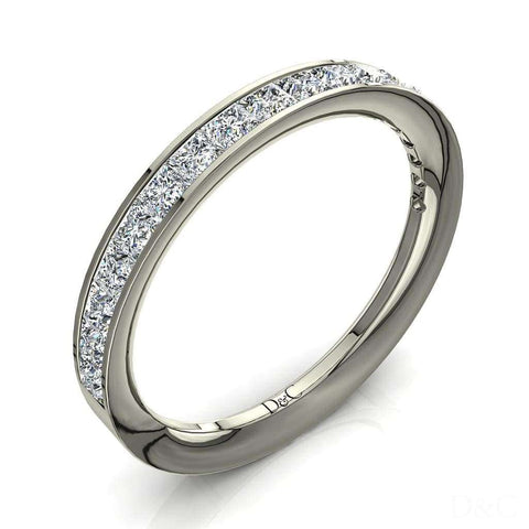 Demi-Alliance femme diamants princesses 15 diamants 1 carat or blanc Ariele
