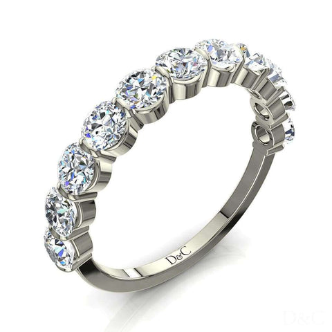 Bague Demi-Alliance diamants ronds 11 diamants 1.30 carat or blanc Alicia