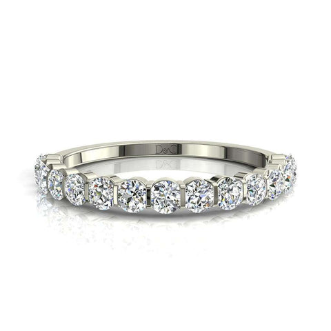 Demi-Alliance diamants ronds 13 diamants 1 carat or blanc Alicia