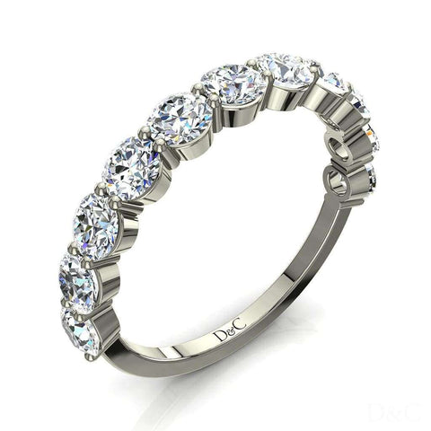 Demi-Alliance mariage diamants ronds 11 diamants 1.30 carat or blanc Annaelle