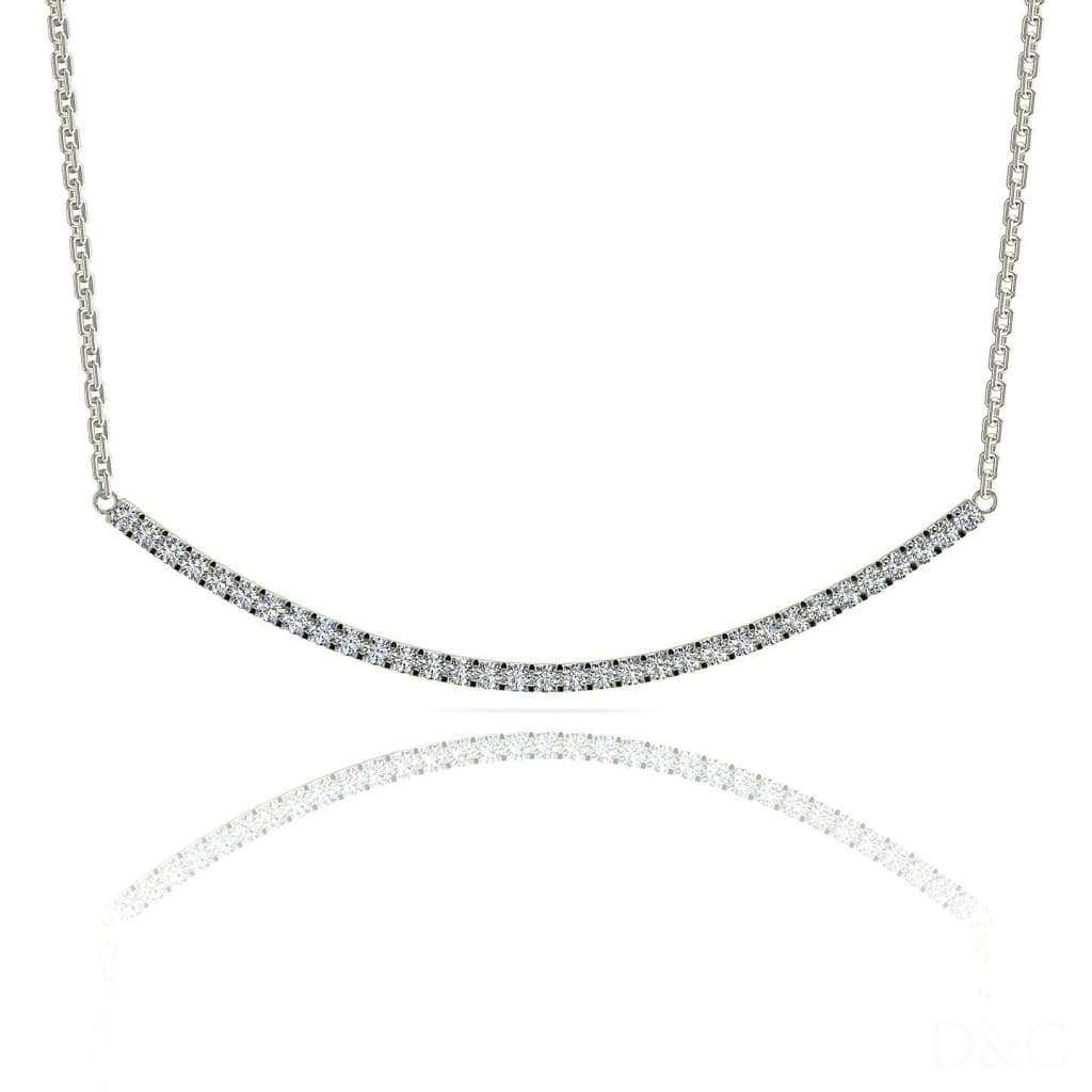 Pendentif collier barrette diamants en or blanc Kira