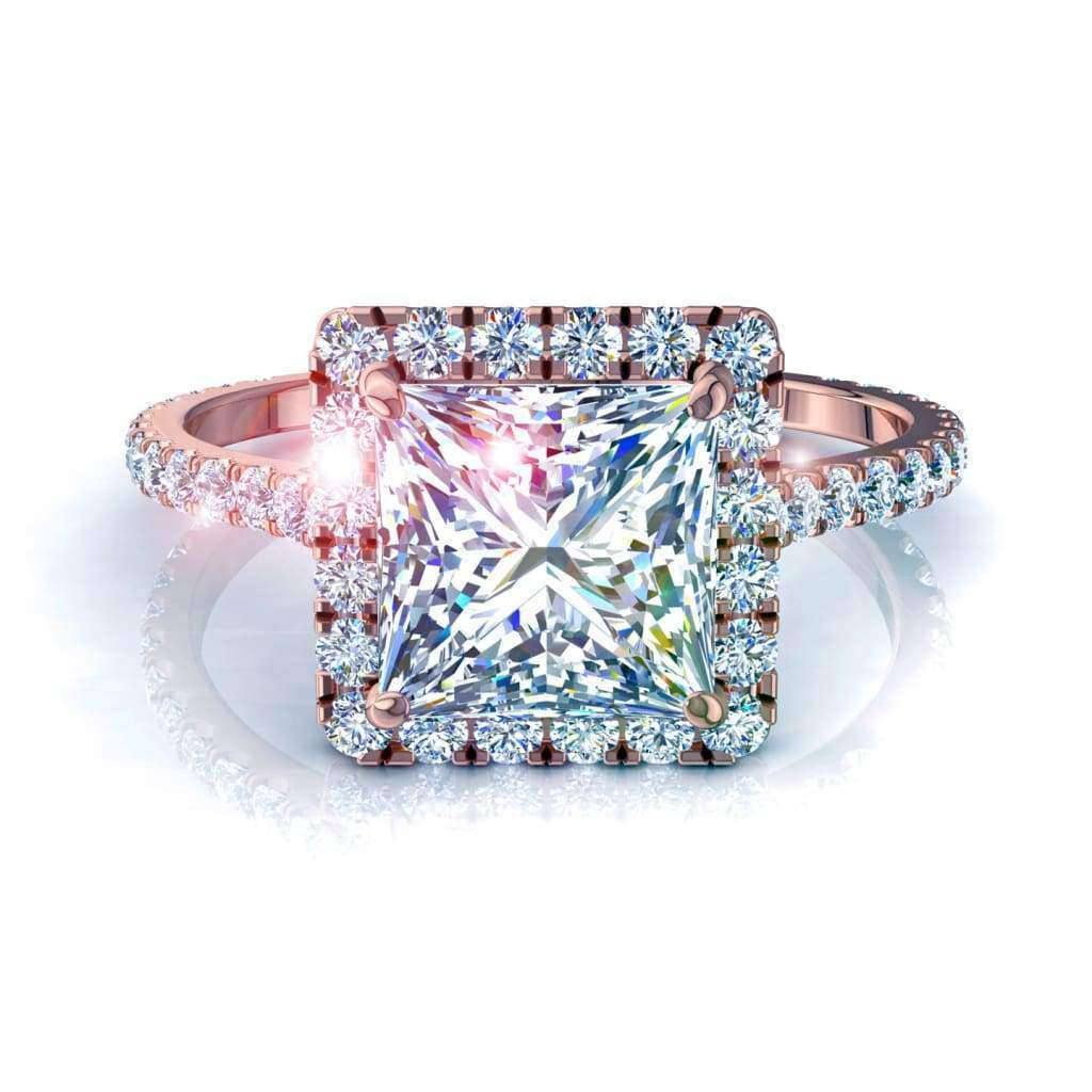 Bague diamant Camogli-princesse 1 carat D / VVS / Or Rose 18 carats