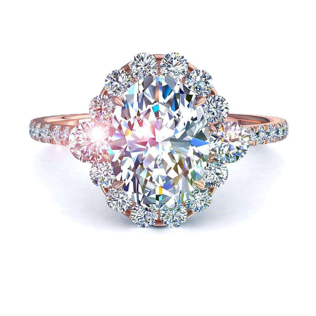 Solitaire bague diamant Alexandrina-rond 1.10 carat D / VVS / Or Rose 18 carats