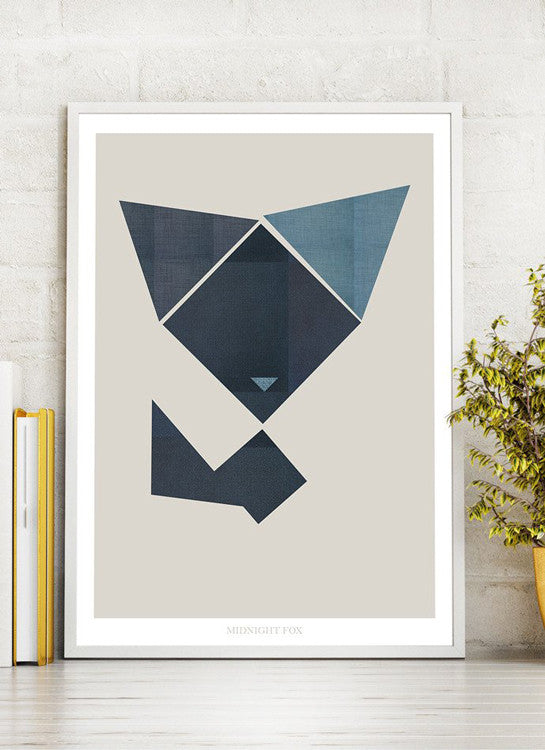 grafisk print midnight fox ræv by Frema