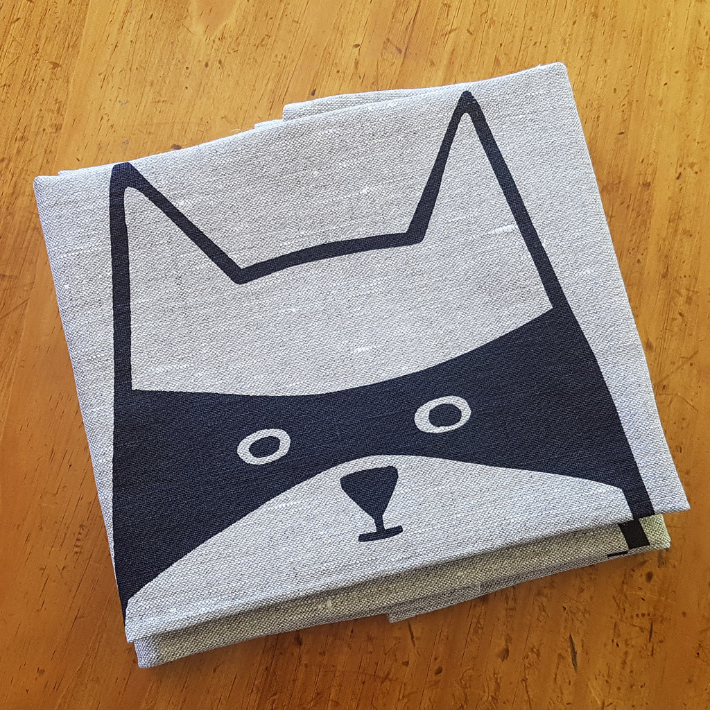 Cat in Disguise - Hand Printed 100% Linen Tea Towel (Oatmeal)