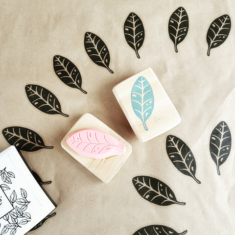 Pohutakawa Leaf - Hand Carved Stamp