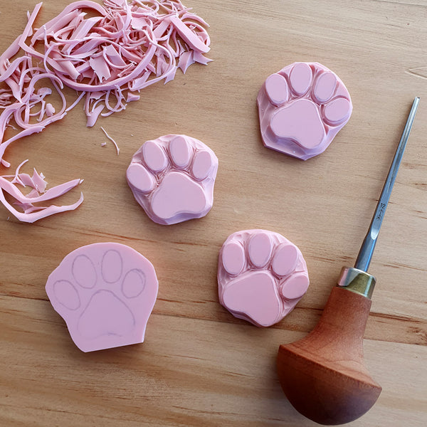 Cat Paw - Hand Carved Stamp