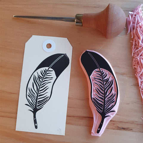 Feather - Hand Carved Stamp