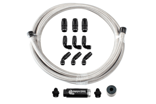 87201 - 20' Stainless Steel Hose Kit w/ Fuel Filter and full flow fittings - Hyperfuel