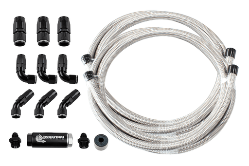 87203 - 40' Stainless Steel Hose Kit w/ Fuel Filter and full flow fittings - Hyperfuel