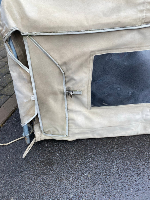 GENUINE DEFENDER 90 - TRUCK CAB HOOD FRAME AND USED EXMOOR TRIM HOOD (SAND)