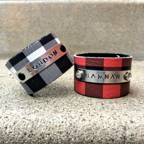 Buffalo Plaid Cuff- Handstamped