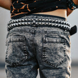 Black Leather Double Studded Belt