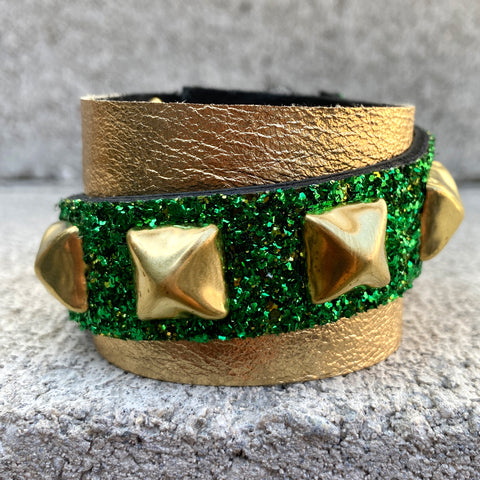 Metallic Gold Glittery Green Cuff
