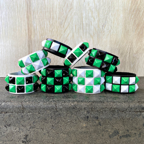 Green Checkered Studded Cuff