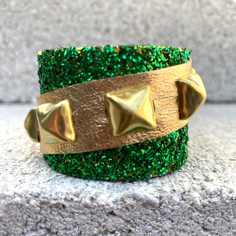 Glittery Green Metallic Gold Cuff