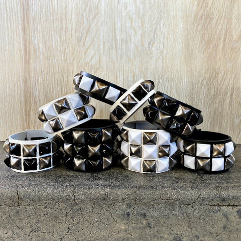 Gunmetal Checkered Studded Cuff