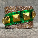 Glitter Chunk Cuff with Green Accents