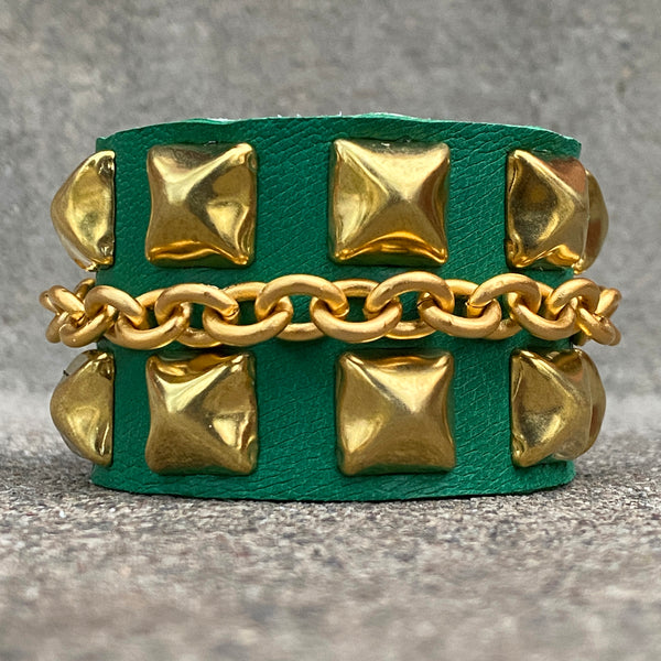 Kelly Green Cuff with Studs and Chain