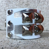 Silver and White Studded Cuff