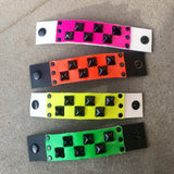 Neon Studded Leather Cuffs for Kids