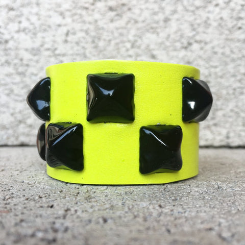 Neon Yellow Studded Leather Cuff