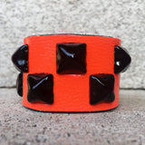 Neon Studded Orange Leather Cuff for Kids