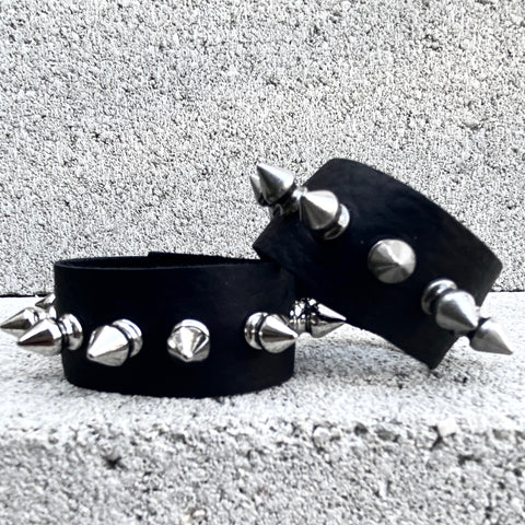 Spiked Black Leather Cuff