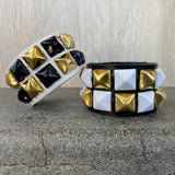 Gold Checkered Studded Cuff