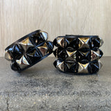 Silver Checkered Studded Cuff