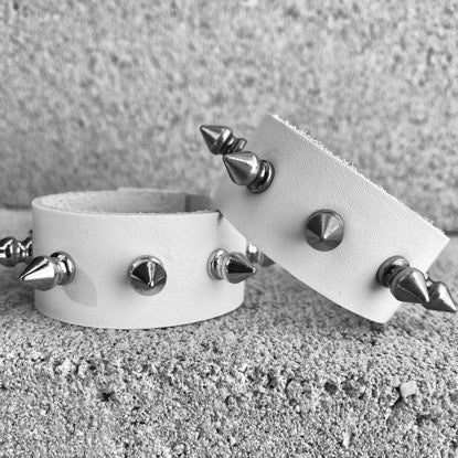 Spiked White Leather Cuff
