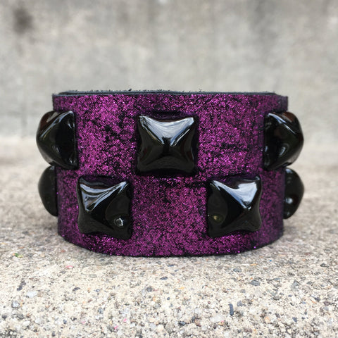 Metallic Purple Vintage Crackle Studded Cuff