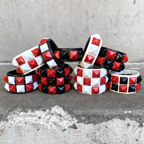 Red Checkered Studded Cuff