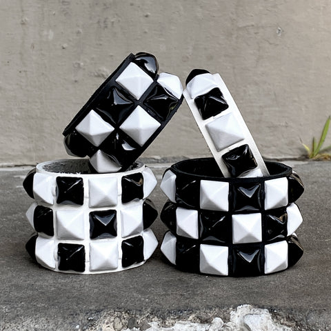Black + White Checkered Studded Cuff
