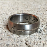 Stainless Steel Cross Puzzle Ring, 6mm