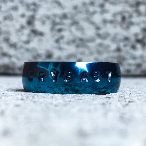 Blue Stainless Steel Ring, 6mm