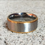 Gold Edged Stainless Steel Ring, 8mm