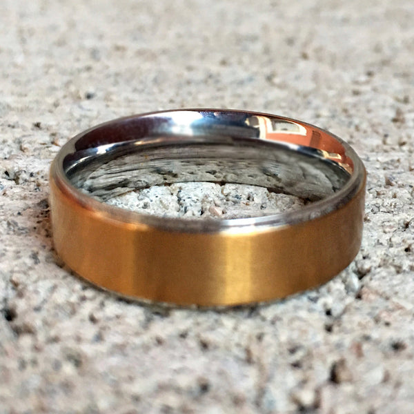 Gold Center Ring with Stainless Edges