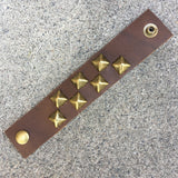 Chocolate Brown Studded Leather Cuff