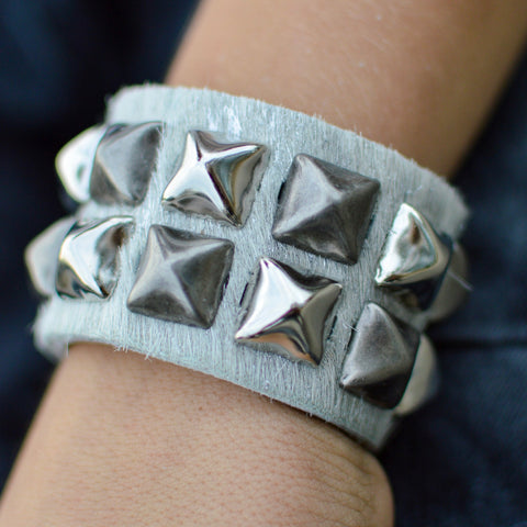 Silver Hair on Leather Studded Cuff