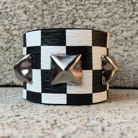 Black and White Checkered Leather Studded Cuff