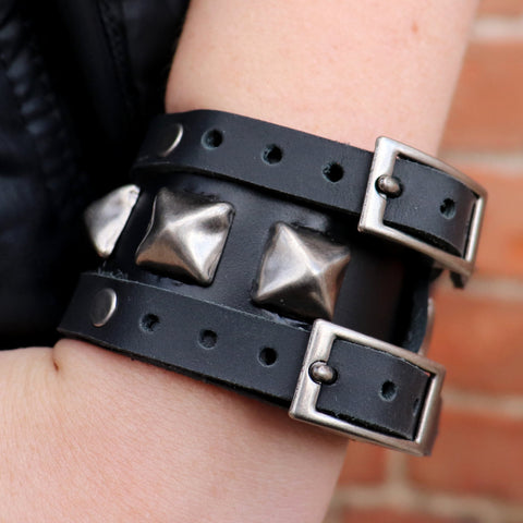 Buckle Up Black Studded Cuff